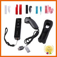 Wholesale Nunchuck Wireless Remote Game Controller - Colordul 2 in 1 Nunchuck And Wireless Remote Game Controller+Wrist+Silicone Case For Wii WiiU 5 Color