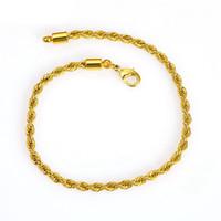 pulseras de cadena fina al por mayor-Thin Classic Rope Chain 24k oro amarillo relleno Womens Mens pulsera enlace 9 pulgadas
