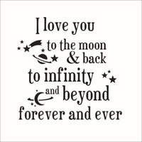 Wholesale Decal Love Moon - I love you to the moon and back Quotes Wall Stickers New Removable Vinyl Wall Art Decals