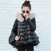 Wholesale Dark Blue Women Fur Coat - Wholesale-Plus Size 2016 Korean Fashion Winter Women Cotton Coat A-line Cute Thick Real Fox Fur Collar Warm Jacket PU Parkas AE281