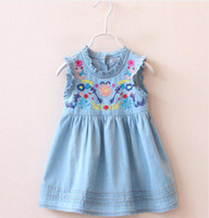Wholesale Embroidered Tank Dress - New Baby Girls Denim Dresses Kids Embroidered Floral Princess Dress Flower Preppy Style Dress Newborn Children Toddler Tank Sundress