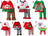 Wholesale Girls Leopard Tops - 2016 baby Christmas outfit girls deer christmas tree t-shirt + ruffle pants 2pcs sets children polka dot tops kids spring fall wear outfit