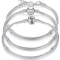 silber 925 schlangenarmband 3mm großhandel-Charm Armbänder 925 Sterling Silber 3mm Schlangenkette Fit Pandora Charms Bead Armreif Armband Modeschmuck DIY Geschenk für Männer Frauen
