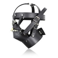 Wholesale Sexy Bondage Hood - BDSM Adult Games Zipper Mouth PU Leather Head Hoods Sexy Fetish bondage Restraints Mask with Lock Sex Toys For Couples Erotic Toys