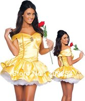 Wholesale Belle Adult Costume - Wholesale-High Quality Adult Snow White Princess Belle Halloween Costume With Underskirt Sexy Costumes for Women Plus Size M L XL