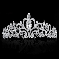 Wholesale Child Tiara Wedding - PrettyBaby Bridal Wedding Crystal Rhinestone Crown Heart Crown Pageant Silver Plated Women Children Tiaras Hair Comb Headband tiara