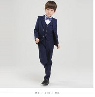Wholesale New Popular Custom Handsome Wedding Boy Ring Bearer Suit Jacket Pants Vest Boy dress Kid Notch Collar Boys Wedding Suit