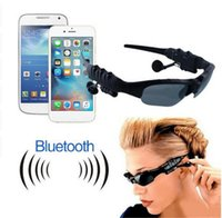 Barato Mp3 Esportes Óculos-Smart Glasses Preto Sunglass Sun vidro Sports Headset MP3 Player + Bluetooth telefone óculos Bluetooth livra o navio