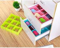 Wholesale Wholesale Plastic Drawer Organizers - 4pcs set DIY Plastic Grid Drawer Divider Household Necessities Storage Organizer Home Space-saving Tools Free Shipping