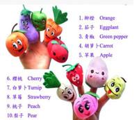 parmaklı kuklalar meyveler toptan satış-Yüksek Kalite 10 adet / takım Meyve Sebze Parmak Kuklaları Eğitici Oyuncaklar Fantoches Bebek Farklı Meyve Yeşil Doldurulmuş Kuklalar