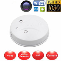 Wholesale Surveillance Cameras Smoke Detectors - Wireless HD 1080P Wifi P2P Hidden Camera Smoke Detector Security DVR Spy Hidden Mini Camera Video Audio Recorder DVR Surveillance Camcorder