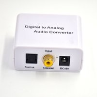 Wholesale Digital Toslink Rca - 3.5mm Digital Optical Coaxial Toslink to Analog Audio Converter Adapter RCA L R US EU Plug With 2A power supply