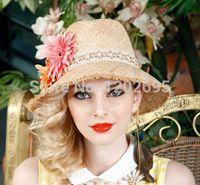 Wholesale Bonnets Women - Europen Style Beach Women Girl Flowers Lafite Straw Hat Cap Summer Sunshade Bonnet Adjustable