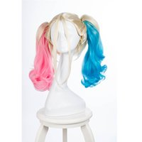Wholesale synthetic wigs for sale - Synthetic Ponytail Wig Movie Batman Suicide Squad Harleen Quinzel Harley Quinn Cosplay Wig Curly Heat Resistant Hair Wigs