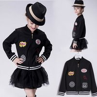 Wholesale Kid Clothing Logo - 2016 New Children Autumn Winter Coats Fashion Baseball Uniform Standing Collar Letter Team Logo Badge Girls Jackets Kids Outwear Clothing