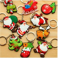 Wholesale Blue Lovers Tree - Christmas Keychain Santa Claus Socks Gift PVC Creative Christmas Tree Car Keychain Little Rubber Pendant Ornaments Fashion Jewelry Key Chain