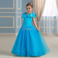Wholesale Cinderella Party Cheap - 2017 Cheap Princess Cinderella Flower Girl Dresses Ice Blue Tulle Off-the-Shoulder Pageant Party Dress Floor Length Kids Communion Gown