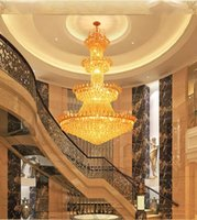 Wholesale Royal Lamps - luxury crystal chandelier hotel lamp villa living room Golden royal family Crystal Chandeliers interior decoration lights