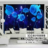 Wholesale Bright stars Blue Rose living room TV background wallpaper murals wallpaper paper bedroom den