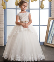 Wholesale Girls Vintage Shirt - Vintage Lace Puffy Flower Girl Dresses For Weddings Ivory Tulle Champagne Bow Overskirts Floor Length First Communion Dress 2017