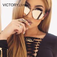 Wholesale Super Star Metal Women - Wholesale-Fashion Brand Desing TECHNOLOGIC Mirror Men or Women Sunglasses Cat Eye Metal Frame Lady Female Shades Super Star Oculos de sol