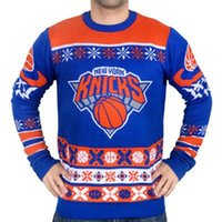 Men block patch - Man Busy Block Ugly Sweater NY Knicks Patch Ugly Sweater Crew Neck Basketball Style Winter Pullovers Sweaters