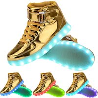 Wholesale Massage Flash - 7 Colors Light Up High Top Sports Sneakers shoes Women Men High Top USB Charging LED Shoes Flashing Sneakers shoe