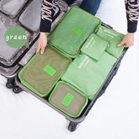 kore naylon çanta toptan satış-Ücretsiz kargo Yeni Kore seyahat çantası su geçirmez naylon giyim iç çamaşırı ağ paketi saklama çantası bavul 6 parça