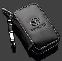 uzaktan mazda için durum toptan satış-Promosyon Mazda Anahtar Durumda Premium Deri Oto Zincirler Tutucu Mazda Anahtar Çanta için Fermuar Uzaktan Cüzdan Çanta Illinois Chicago gönderemezsiniz