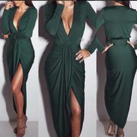 Wholesale Long Cut Out Club Dresses - Sexy Elegant Dress Nightclub Low-Cut Bodycon Dresses Close-Fitting Clubbing Black Split Dresses Dark Green Khaki Mini Ankle-length Dress