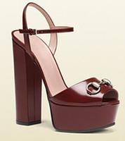 Wholesale Trendy Rubber Sandals - 2016 new women sandals peep toe buckle metal chunky heel high heels sandals woman sandalias fashion sandals trendy party shoes shoes women