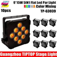 10XLOT Plat Slim 140W 5IN1 LED RGBWA 5IN1 Par Can Puck DMX 5 / 9CH Contrôle DJ Stage Washer Light 15Wx9 Uplighting Support suspendu