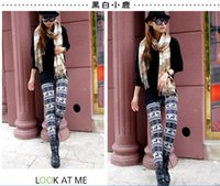 Wholesale Knit Leggings Pattern Free - Fashion patterns Women's snowflake Christmas tree deers flower patterned knitted Leggings Lady Slim pants free shippig