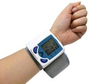 Wholesale Fully Automatic Digital Wrist Blood Pressure Monitor Heart Beat Meter With LCD Display for old people for all family DHL fast