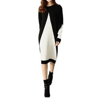 Wholesale Sweater Robe - Women Sweater Dress White and Black Midi Winter Knitted Long Sleeve Casual Fashion Femme Robes Gowns Office Ladies Clothing