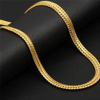 Wholesale string 6mm - Brand Men Necklace Fashion Rapper Jewelry Rose Gold Black Gold Color 6MM Unique Choker Long Classic Foxtail Chain