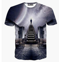 Wholesale T Boy Watches - New Europe and American Men boy T-shirt 3d fashion print A person watching meteor shower Space galaxy t shirt