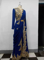 Wholesale Blue Peplum Shirt - Royal Blue Dubai Arabic Evening Dresses A Line Long Sleeve Gold Appliques Muslim Evening Gowns Split Prom Party Dress Real Picture
