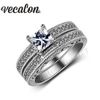 Wholesale 2ct white gold engagement rings for sale - Group buy Vecalon Vintage Female Ring Princess cut ct Simulated diamond Cz KT White Gold Filled Engagement Wedding Ring Set for Women