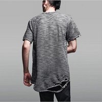Wholesale Skate Shirt Long Sleeves - Black white grey cotton crewneck mens male ripped tops tees destroyed oversized t shirt fashion swag skate rap cool t-shirt for summer