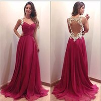 Wholesale Pear Ribbon Flowers - 2016 Wine Red Prom Dresses Sweetheart Lace Appliques Hollow Sexy Back Sweep Train Chiffon Evening Gowns