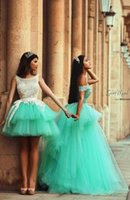 Wholesale Prom Dress Tulles Ball Gown - 2017 Charming Mint Quinceanera Girls Ball Gown Tulles Romantic Lace Prom Party Dresses with Layers Appliques Formal Gowns