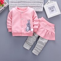 Wholesale Rabbit Dresses Girls - 2pc Toddler Baby Girls Clothes Rabbit Long Sleeve Coat+False Pants Dress Casual Clothing Autumn Children Clothing 1-4Years