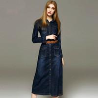 camiseta mulheres denim venda por atacado-50 pc Outono nova moda feminina denim vestido casual solto manga comprida T shirt vestidos plus size frete grátis