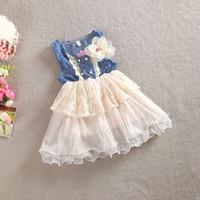Wholesale Denim Braces - 2016 New Korea Children Clothes Cotton Bud Silk Denim Skirt Big Flower Corsage Skirt Tutu Princess Braces Skirt Pink Beige A5358