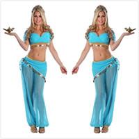 danza del vientre ropa sexy al por mayor-Mujeres sexy trajes de la danza del vientre gasa transparente lentejuelas vestido de lujo estilo exótico danza india etapa rendimiento ropa