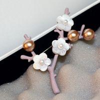 korece klip broşları toptan satış-Kadınlar için kore Erik Şube Broşlar eşarp klip Moda Marka Takı Vintage Pembe C / C Broş Pins Parti Aksesuarları Noel Hediyesi
