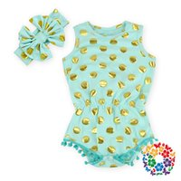 Wholesale Toddler Girls Polka Dot Dress - Summer Infant Clothing 12 Colors Toddler Baby Gold Polka Dots Romper +Headbands Baby Girls Sleeveless Princess Birthday Dresses Jumpsuits