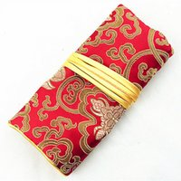 Wholesale Silk Rope For Jewelry - Portable Jade Jewelry Roll Up Travel Storage Bag for Necklace Bracelet Ring Earring Set Chinese Silk brocade 3 Zipper 2 Ring Rope Packaging