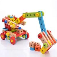 brinquedo de ferramentas de madeira venda por atacado-Magicaf madeira porca combinação de blocos de construção de montagem de brinquedos de criança desmontagem 3 4 5 - - - 6 cinto de ferramentas de quebra-cabeça de brinquedo